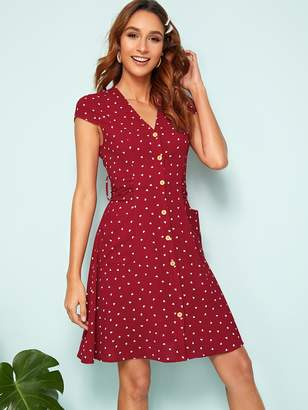 Shein Button Front Self Belted Back Patch Pocket Dress