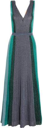 Metallic Stretch-knit Gown - Silver