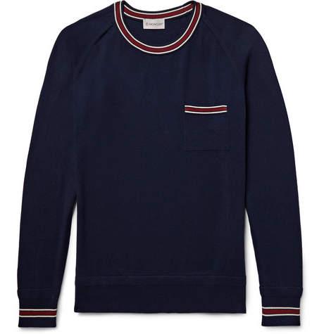 Moncler Slim-Fit Contrast-Trimmed Cotton Sweater