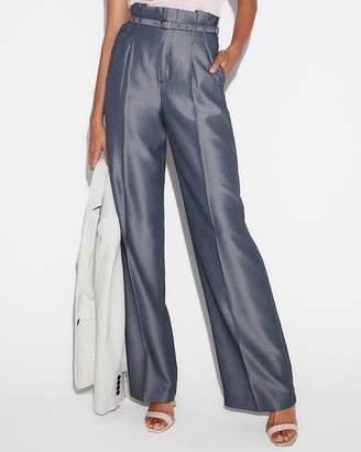 Express High Waisted Belted Tie Waist Wide Leg Dress Pant