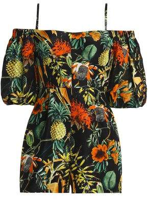 Nicholas Off-The-Shoulder Ruffled Floral-Print Silk-Georgette Playsuit