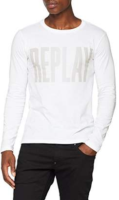 Replay Men's M3595 .000.2660 Long Sleeve Top, (White 1), Large