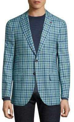 Isaia Gingham Checked Single-Breasted Wool-Blend Blazer