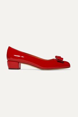 Salvatore Ferragamo Vara Bow-embellished Patent-leather Pumps - Red