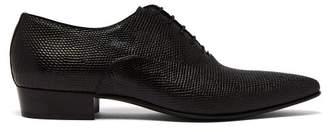 Saint Laurent Hopper Lizard Leather Derby Shoes - Mens - Black