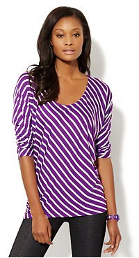 New York & Co. Love, NY&C Collection - Striped Dolman-Sleeve Top