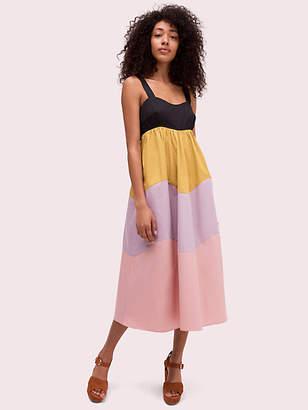Kate Spade Scallop Blocked Midi Dress, Black - Size L