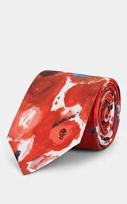 Alexander McQueen Men's Paint-Palette-Print Silk Necktie - Red