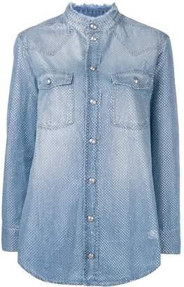 Balmain round stud embellished denim shirt