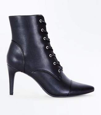 New Look Black Lace Up Pointed Heel Boots