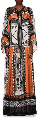 Alberta Ferretti Women's Geometric-Print Silk Tieneck Long Dress - Orange