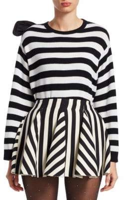 Valentino Cashmere Stripe-Knit Bow Sweater