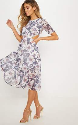 PrettyLittleThing Grey Floral Cap Sleeve Cut Out Midi Dress