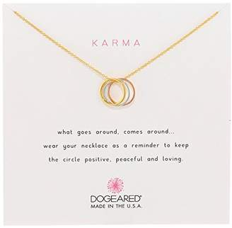 Dogeared Karma Mixed Metal Sterling Silver Triple Karma Ring Necklace