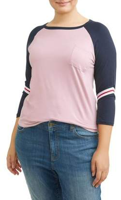 Moral Fiber Women's Plus Size Raglan Long Sleeve Varsity Color Block Tee