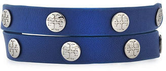 Tory Burch Leather Logo-Stud Double-Wrap Bracelet $125 thestylecure.com