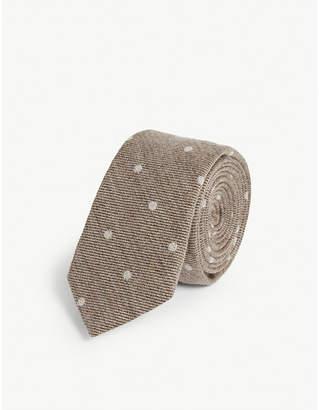 Eleventy Polka dot wool tie