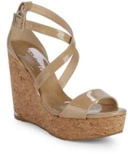 Jimmy Choo Portia Patent Leather Wedge Sandals