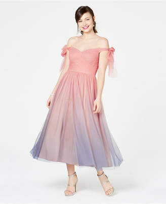 Aidan Mattox Ombre Off-The-Shoulder Dress