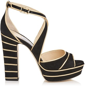 Jimmy Choo APRIL 120 Black Suede Platform Sandals with Gold Metallic Nappa Leather Piping