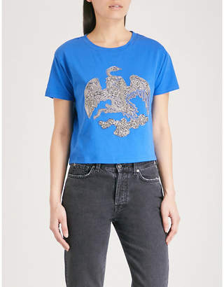 The Kooples Bead-embellished cotton-jersey T-shirt