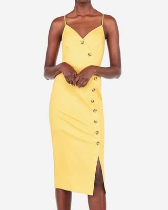 Express Asymmetrical Button Front Midi Dress