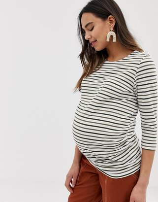 New Look Maternity long sleeve stripe top in green