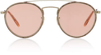 Oliver Peoples Ellice Round-Frame Metal Sunglasses