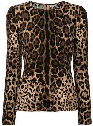 Dolce & Gabbana fitted leopard print top