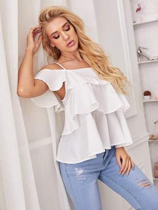 Shein Tiered Layer Cold-shoulder Cami Blouse