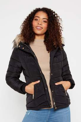 F&F Womens Black Short Padded Jacket - Black