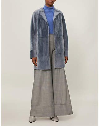 Drome Collarless reversible shearling and leather coat