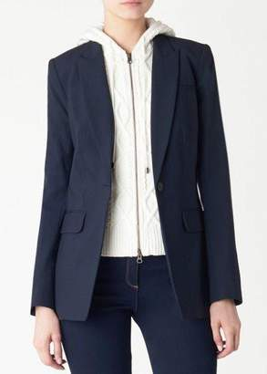 Veronica Beard Navy Long And Lean Jacket With Cream Embroidered Cable Knit Hoodie