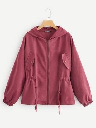 Shein Drawstring Waist Zipper Up Hoodie Jacket