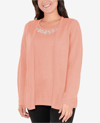 NY Collection Layered-Look Embellished Sweater