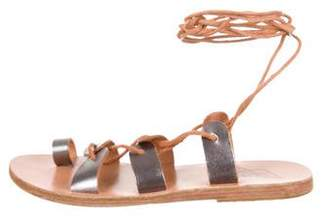 Ancient Greek Sandals Leather Lace-Up Sandals