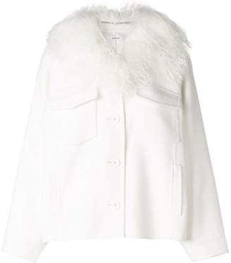 P.A.R.O.S.H. fur collar buttoned jacket