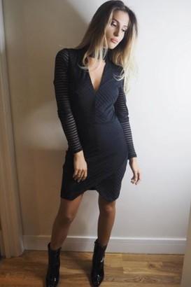 Girls On Film Outlet Black Burnout Stripe Dress With Keyhole
