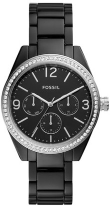 Fossil Caleigh Multifunction Black Acetate Watch Jewelry