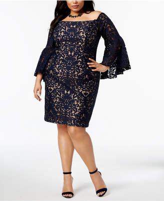 Xscape Evenings Plus Size Lace Off-The-Shoulder Dress