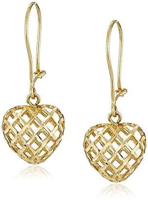14k Yellow DC Woven Heart Drop Earrings