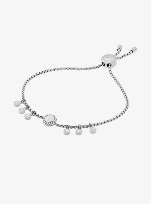 Michael Kors Crystal Silver-Tone Logo Slider Bracelet