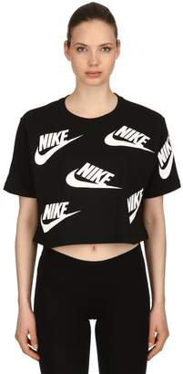 Nike Logo Print Cotton Jersey Cropped T-Shirt