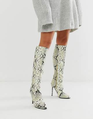 Lost Ink stiletto knee high boot in snake