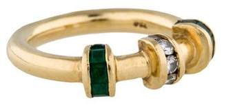Charles Krypell 18K Diamond and Emerald Ring