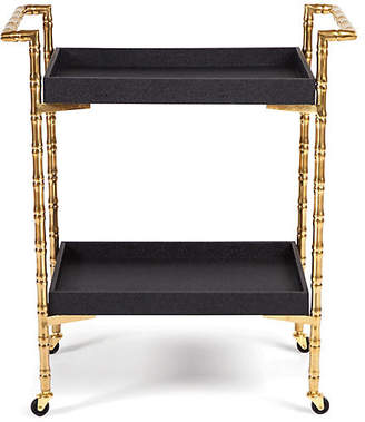 One Kings Lane Sagano Bamboo-Style Bar Cart - Gold/Black