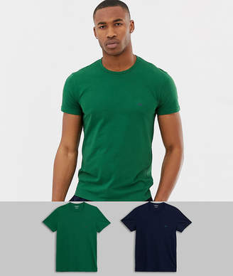 Emporio Armani 2 pack eagle logo lounge t-shirts in navy/green