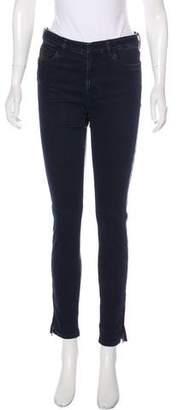 Prada Leather-Paneled Mid-Rise Jeans