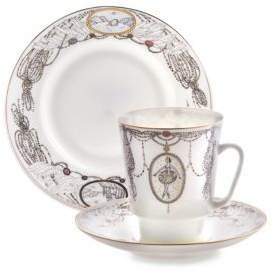 Imperial Porcelain Three-Piece Swan Lake Ballet Teacup, Saucer and Dessert Plate Set
