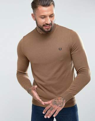 Fred Perry Merino Crew Neck Sweater in Camel